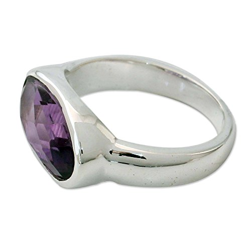 (NOVICA Amethyst .925 Sterling Silver Single Stone Cocktail Ring, Purple)