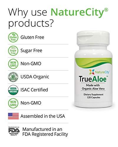TrueAloe 100% Organic Aloe Vera Capsules - 120 Capsules per Bottle - 6 Pack by NatureCity (Image #3)