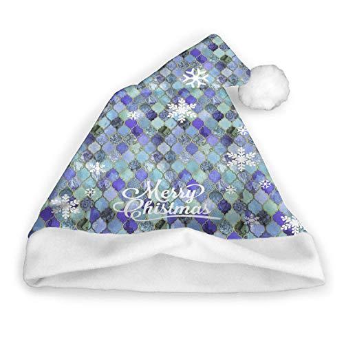 (Cobalt Blue Aqua Decorative Tile Novelties Holiday Christmas Plaid Santa Hat for Adults and Kids )