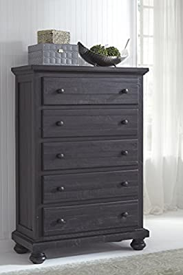 Ashley Furniture Signature Design - Sharlowe Chest of Drawers - 5-Drawer Cottage-Chic Casual Dresser - Charcoal
