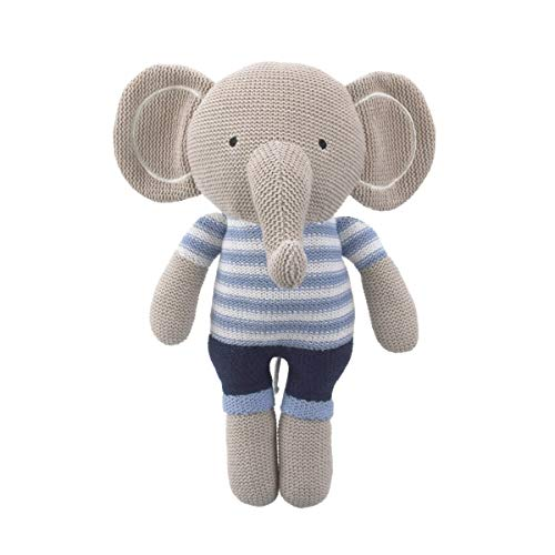 Cuddle Me Grey and Blue Elephant 100% Cotton Knitted Plush Toy, Landon, Grey/Blue