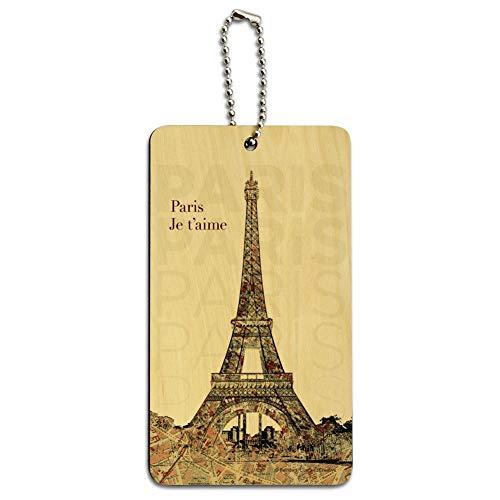 Paris, je t'aime I Love You Eiffel Tower City Map Wood Luggage ID Tag