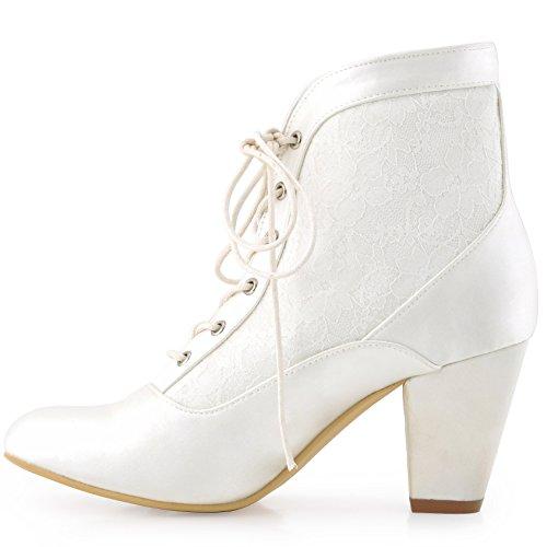 Zapatoslace Punta Lace Chunky Saten Boda Tacon Hc1528 Elegantpark Mujer Marfil Chiusa Botines Novia S1Fx6F