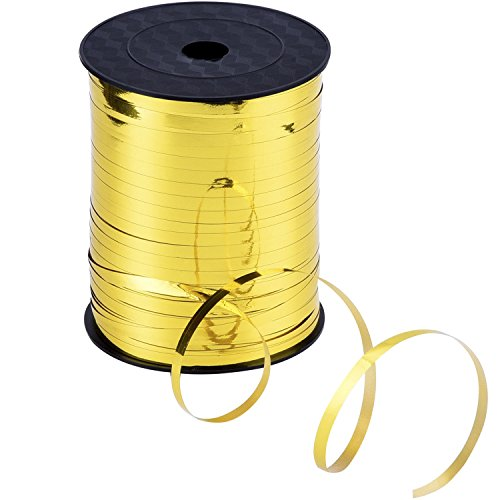 Outus 3/ 16 Inch Crimped Curling Ribbon Balloon Ribbon Spool 500 Yard, Metallic Gold
