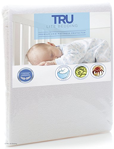 TRU Lite Bedding Crib Waterproof Mattress Protector - Hypoallergenic Mattress Cover - Breathable Cotton Terry Crib Protector - Protects from Dust Mites, Allergens, Germs, Stains, Odors - Crib Size