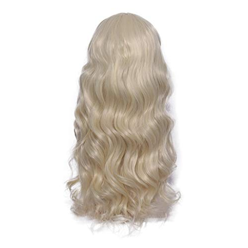 DICPOLIAC Women's Light Yellow Wig Long Fluffy Curly Wavy Hair Wigs for Girl Heat Friendly Synthetic Cosplay Party Wigs 26Inch (Light Yellow)
