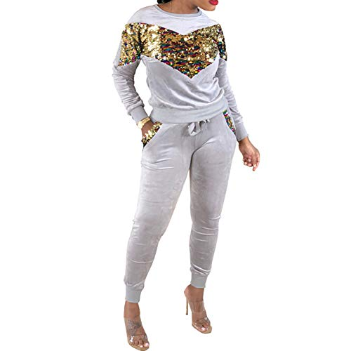 Brave669 Women Sports Colorful Sequined Tracksuit Loungewear Set