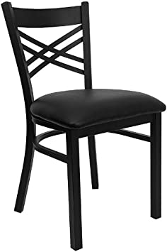 4 Pack Hercules Series Black ''X'' Back Metal Restaurant Chair with Black Vinyl Seat