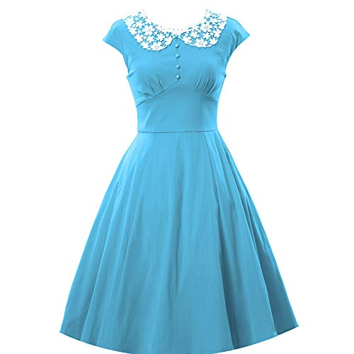Oyza9pe Women's Vintage 1940s Lace Swing Formal Party Skaters Gown Dress L Light Blue