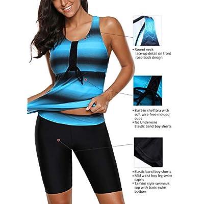 Aleumdr Womens Racerback Color Block Print Tankini Swimsuits with Swim Capris S-XXXL at Women's Clothing store