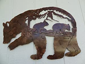 Bear Mountain Scene Metal Wall Art Home Decor - Antique Copper Color