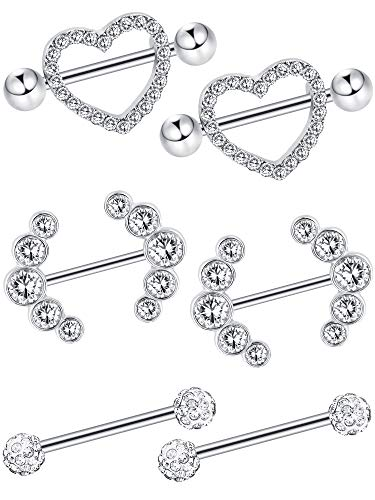 Tongue Piercing Heart - Jovitec 6 Pieces 14 G Nipple Rings Barbell Heart Curved Shape Rings Stainless Steel Tongue Nipple Rings for Jewelry Body Piercing (Steel Color)