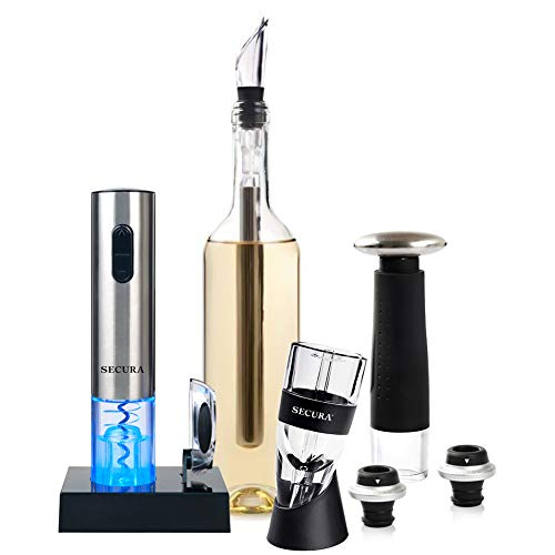 Secura Wine Lovers Gift Set 12-Piece Wine Accessories Set Electric Wine Opener, Wine Foil Cutter, Wine Aerator, Wine Saver Vacuum Pump + 2 Wine Stoppers