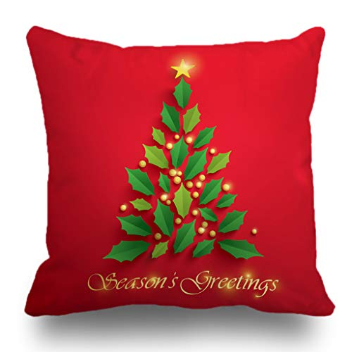 (Batmerry Merry Christmas Theme Decorative Pillow Covers 18 x 18 inch,Christmas Tree Seasons Greeting Merry Star Green Winter Double Sided Throw Pillow Covers Sofa Cushion Cover Lumbar Pillowcase)