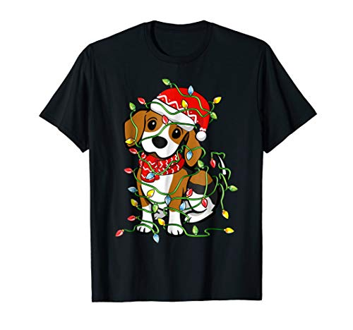 Beagle with Santa Hat Christmas Lights Pajamas T Shirt