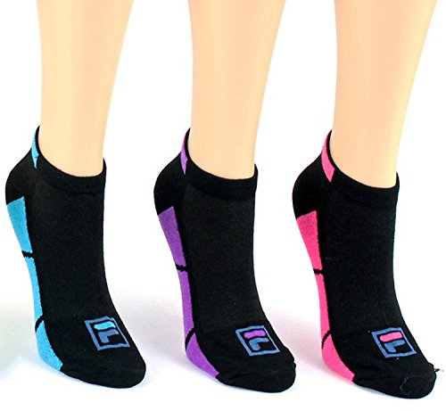 Fila Women's Low Cut No Show Socks for Ladies (3 Pack Color Mixed B)