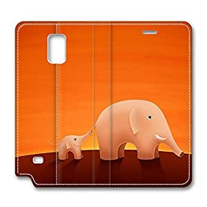 Galaxy Note 4 Case, Fashion PU Leather Folio Custom Protective Case Cover for Samsung Galaxy Note 4 Father And Son Elephant by Maris's Diary