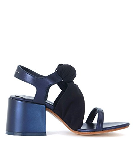 Mm6 Blue Fabric Black MAISON Leather Woman's MARGIELA Blue and Mm6 Sandal qIWwf6At