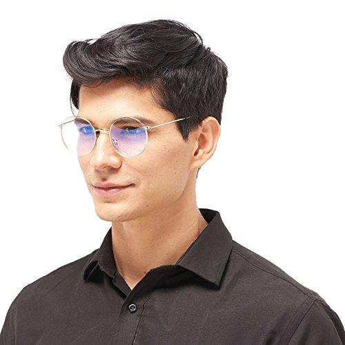5810f20284 LianSan Designer Metal Round Womens Mens Fashion Computer Glasses Blue  Light Blocking Tinted Anti Glare Anti Reflective Non Prescription Optical  Frames ...