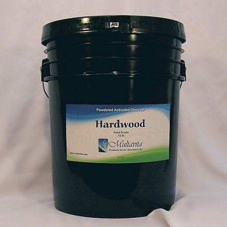 12 lb Hardwood Activated Charcoal Powder Premium Food Grade USA in Pail w/ GAMMA Seal Lid by Multavita
