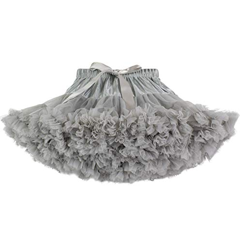 URVIP Baby Little Girl Tiered Tulle Pleated Tutu Skirt Princess Dance Pettiskirt Grey XS]()