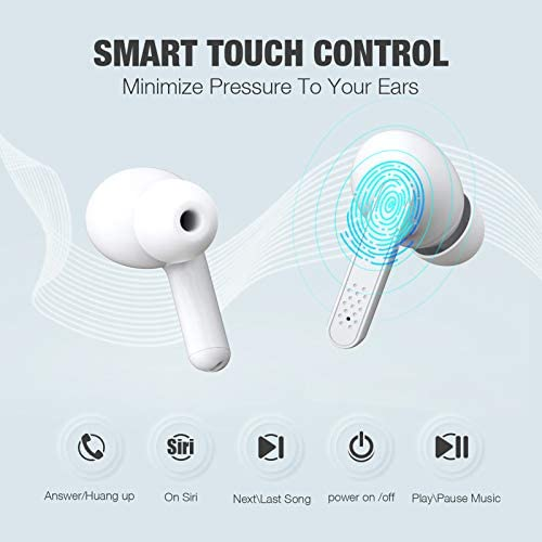 Wireless Earbuds, Bluetooth Earbuds Deep Bass HiFi Stereo Sound 35H Playtime Per Charge Sweatproof with CVC 8.0 Noise Cancellation for Workout/Driving/Home Office