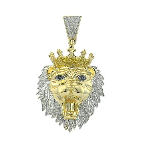 (TGDJ 10kt Yellow Gold Mens Round Diamond Lion Head Animal Charm Pendant 0.57 Cttw (I1-I2 Clarity; G-H Color))