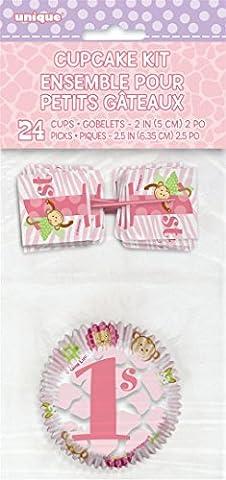 Pink Safari First Birthday Cupcake Kit for 24 - Pink Cupcake Print