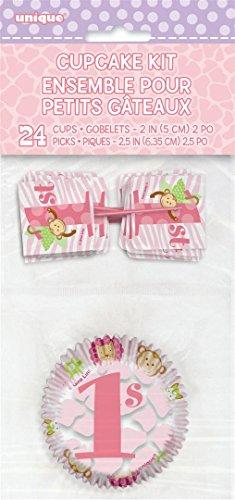 Pink Safari First Birthday Cupcake Kit for 24]()