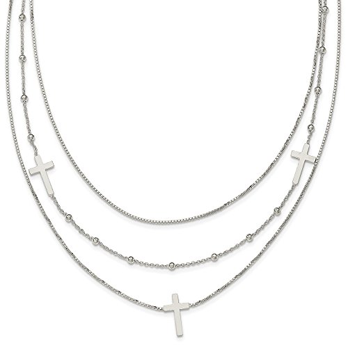 Sterling Silver Polished Multi-Strand Sideways Cross Necklace 18 Inches