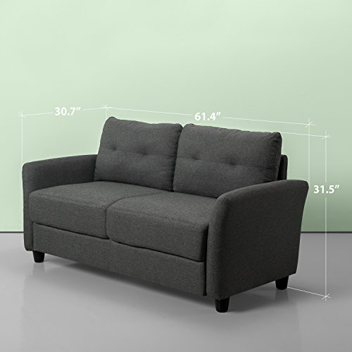 Zinus Contemporary Upholstered 62in Sofa Couch / Loveseat, Dark Grey