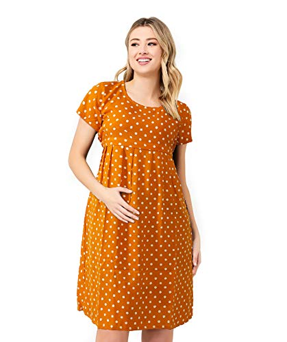 3 in 1 Maternity Knee Length Yellow Polka Dots Casual,Pregnancy,Labor Breastfeeding Mini Dress for Women (Yellow)