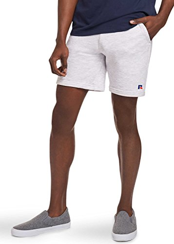 Russell Athletic Heritage Men's Explorers French Terry Eagle R Fleece Shorts, Silver Marl, -