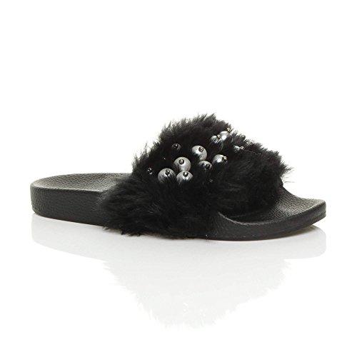 Ajvani Womens Ladies Flat Faux Fur Comfy Slip on flip Flop Sliders Slipper Sandals Size Black Bead 3xtjMPaW