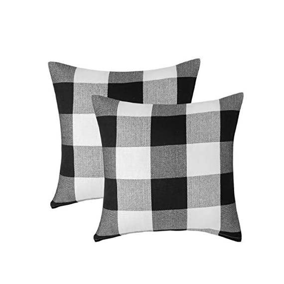 Vanky Set of 2 Buffalo Check Plaid Pillows Farmhouse Decor Christmas Pillow Covers Fall Outdoor Pillows Outside Porch Pillows Cotton Linen Throw Pillow Covers Black White 18 x 18 Inches - SIZE:18 x 18 Inch / 45 x 45cm.Square throw pillow covers Suitable for sofa, front porch,bed,living room,home,office,car seat,outdoor. MATERIAL:Grade A Cotton Linen,Classic Retro Plaids,This linen fabric can easily match with all styles of furniture.These cushion covers are also great gifts for each holiday,Like Halloween Thanksgiving Day, Christmas Day. Package includeds 2 pcs pillow covers without pillow inserts. - patio, outdoor-throw-pillows, outdoor-decor - 41WUHankz%2BL. SS570  -