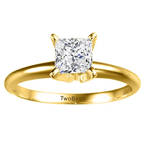 14k Yellow Gold Traditional Style Princess Solitaire with Diamonds (0.1 ct. twt.)