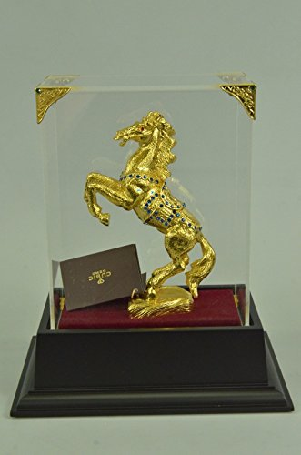 Handmade European Bronze Sculpture Art Deco Rearing 24K Gold Plated Horse With Gem Stone Glass Display Bronze Statue -SHO-420GB-Decor Collectible Gi