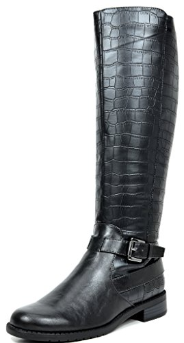 TOETOS SANCHEZ Women's Fashion Daily Casual Knee-High Buckle Lady Winter Riding Boots Wide Calf BLACK CROCO SIZE 10 Image