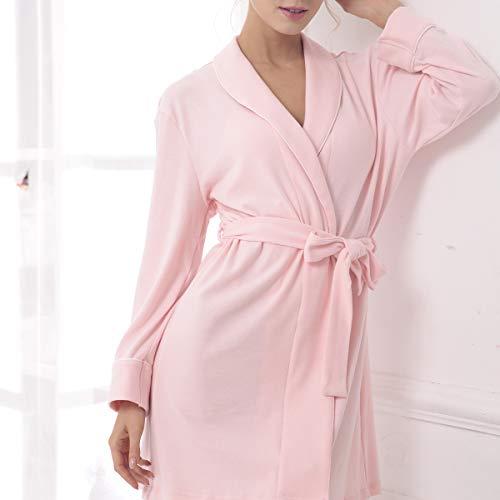 notte obliquo da Womens pigiameria Gown Short Loungewear pigiameria con S Camicia V sexy con scollo Robes Accappatoi Cotton Style AOOPOO a Rosa Dressing XL v4wOAwq