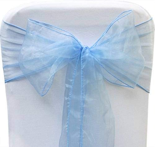 mds Pack of 50 Organza Chair sash Bow Sashes for Wedding and Events Supplies Party Decoration Chair Cover sash -Baby - Cover Chair Blue Organza