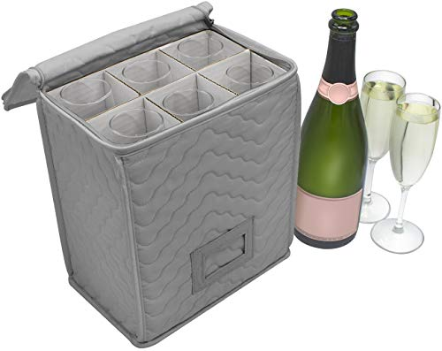 Sorbus Champagne Flute Storage Chest - Deluxe Quilted Case with Dividers - Service for 6 - Great glassware storage for Protecting or Transporting Champagne Flute Glasses (Storage Flute - Gray)