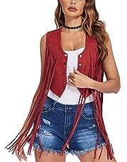 Beyove Women Fringe Vests Faux Suede Tassels 70s Hippie Clothes Open Front Cowgirl Outfit Western Vest Cardigan Jacket S-XXL