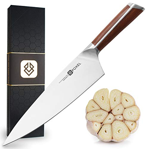 Chef Kitchen Knife 8 inch Japanese Inspired American Design - FOX Series Chef's Knives are Made for Rugged Everyday Use with Razor Sharp German High Carbon Steel and Ergonomic Sandal Wood Handle