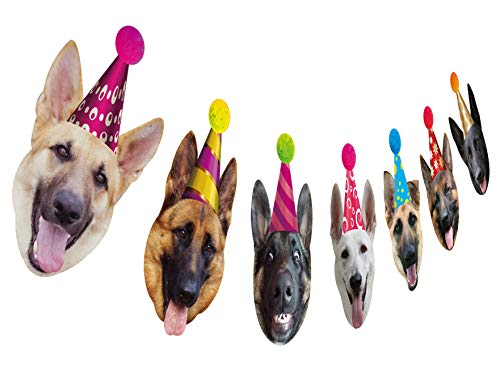 (German Shepherd Birthday Garland, Funny Dog Face Portrait Birthday Banner, Bday Bunting Decoration)