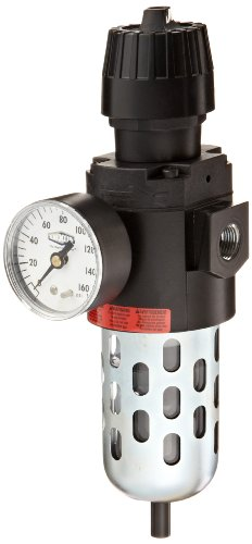 Dixon CB6-03AG Automatic Drain Wilkerson Compact Filter/Regulator with Transparent Bowl and Guard, 3/8'' Size, 70 SCFM Flow, 150 psig Pressure by Dixon Valve & Coupling