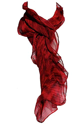 Shortie Red and Black Hand Painted Arashi Shibori Silk Chiffon Scarf