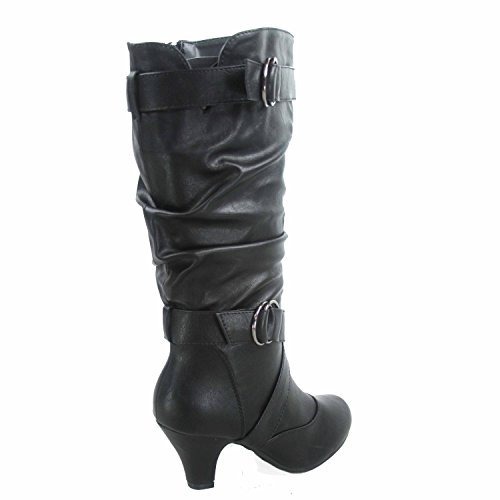 Forever Link Maggie-39 Women's Fashion Low Heel Zipper Slouchy Mid-Calf Boots Shoes,Black,6