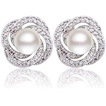 GULICX Silver Plated Base Simulated Pearl CZ Spiral Bridesmaid Pierced Stud Earrings Ivory Color Gift