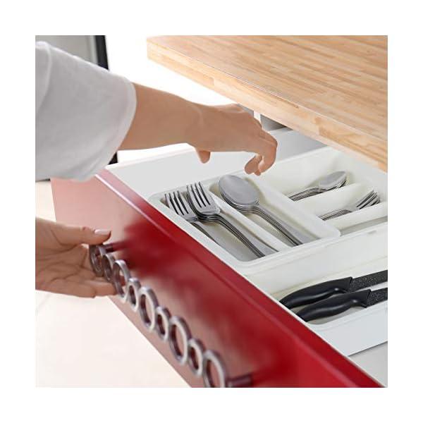 41WUJq0T4zL Relaxdays Besteckkasten, ausziehbar, 7 Fächer, für Besteck & Küchenutensilien, Kunststoff, HBT 6x23,5x31,5 cm, weiß