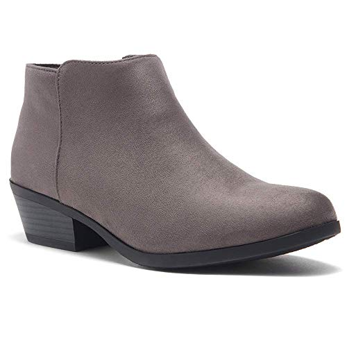 Herstyle Chatter Women's Western Ankle Bootie Closed Toe Casual Low Stacked Heel Boots Grey 8.0